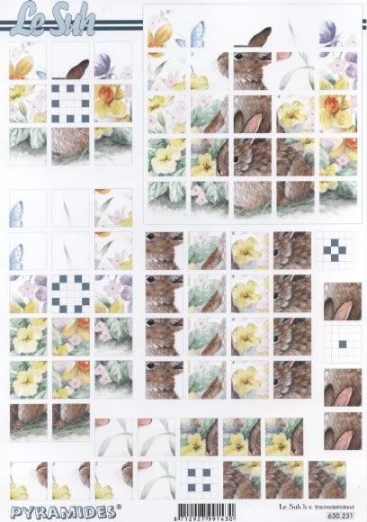 3D Bogen Pyramides - Format A4,  Frühjahr,  Le Suh,  3D Bogen,  Osterglocken