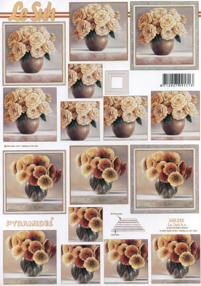 3D Bogen Pyramides - Format A4,  Blumen - Rosen,  Le Suh,  3D Bogen