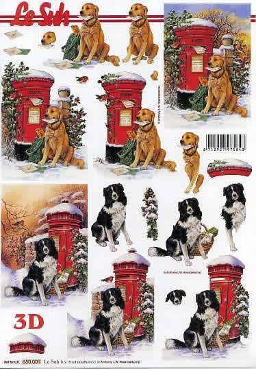 3D Bogen Weihnachtsbriefkast mit Hund - Format A4,  Sonstiges -  Sonstiges,  Le Suh,  3D Bogen,  Weihnachtlicher Briefkasten