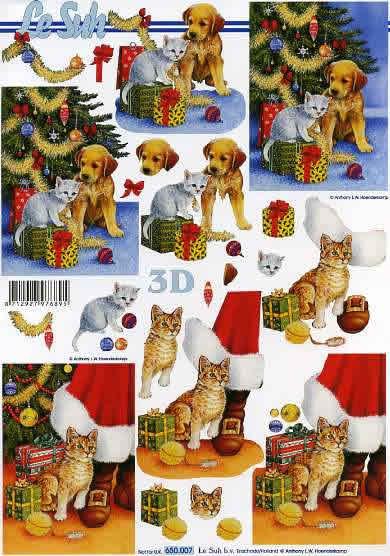 3D Bogen Weihnachtsbaum mit Hund - Format A4,  Tiere -  Sonstige,  Le Suh,  3D Bogen,  Hund und Katze vor dem Weihnachtsbaum