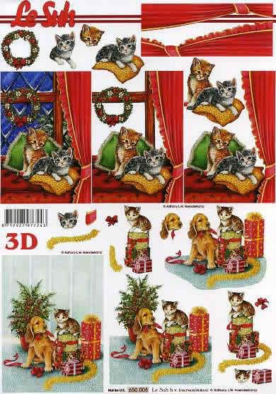 3D Bogen Weihnachten mit Katze - Format A4,  Tiere -  Sonstige,  Le Suh,  3D Bogen,  Hund und Katzen vor Geschenken