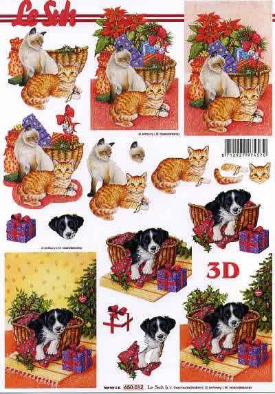 3D Bogen  - Format A4,  Tiere -  Sonstige,  Le Suh,  3D Bogen,  Weihnachtskorb,  Hund und Katzen
