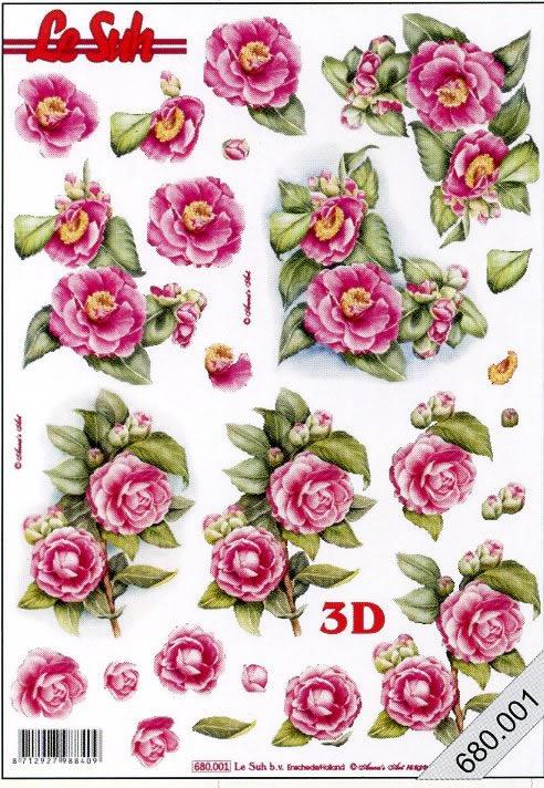 3D Bogen gestanzt 2x Blumen - Format A4