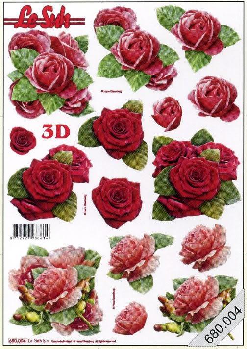 3D Bogen gestanzt 3x Blumen - Format A4,