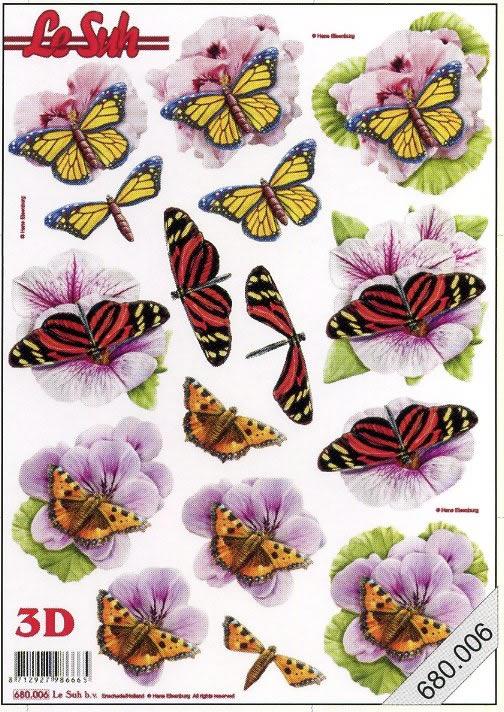 3D Bogen gestanzt Schmetterlinge - Format A4