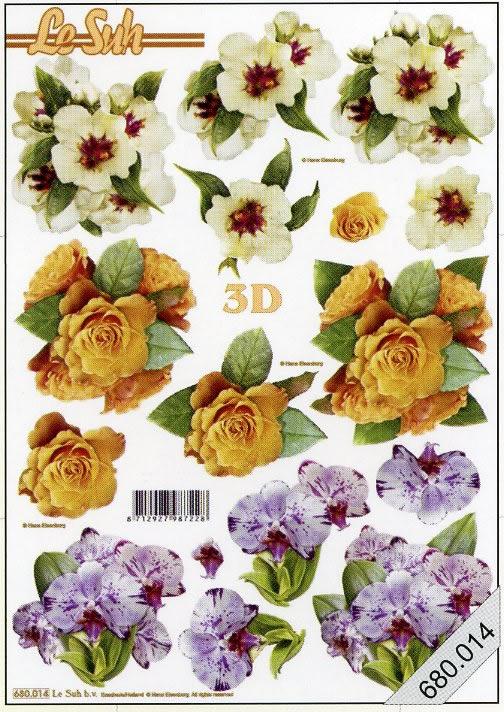 3D Bogen gestanzt Format A4,  Blumen - Primeln,  Primeln