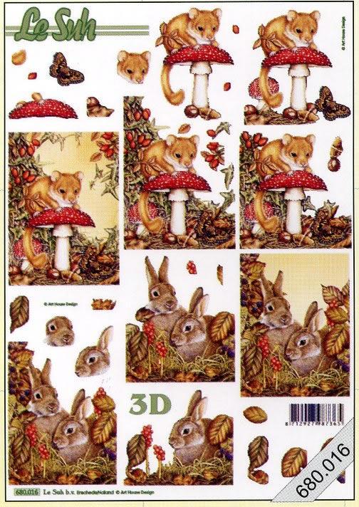 3D Bogen gestanzt 2x Herbst - Format A4,  Pilze,  Mäuse