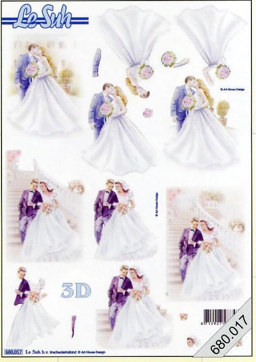 3D Bogen gestanzt 2x Brautpar - Format A4,  Menschen - Personen,  Brautpaar