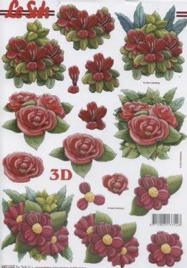 3D Bogen gestanzt Blumen - Format A4,
