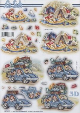 3D Bogen gestanzt Urlaub Zelt/Auto - Format A4, Menschen - Personen,  Fahrzeuge - Autos,  Le Suh,  Urlaub,  Camping,  Auto,  Zelt