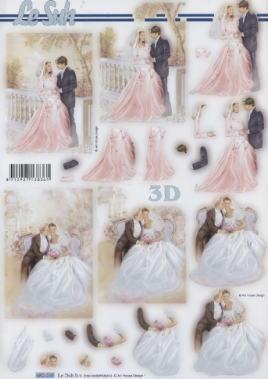 3D Bogen gestanzt Hochzeit - Format A4,  Menschen - Personen,  Ereignisse - Hochzeit,  Hochzeit,  Personen