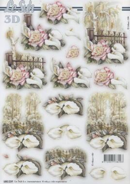 3D Bogen gestanzt Kondolenz - Format A4,  Blumen - Rosen,  Rosen,  Trauer