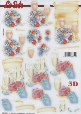 3D Bogen gestanzt Champagner Party - Format A4, Blumen -  Sonstige,  Getränke - Wein / Sekt,  Ereignisse - Feier,  Blumen,  Party,  Wein