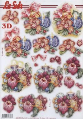 3D Bogen gestanzt Weihnachts Deko mit Kerze - Format A4,  Le Suh,  Weihnachten - Baumschmuck,  Baumkugeln,  Kerzen