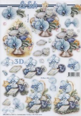 3D Bogen gestanzt Weihnachten blau - Format A4, Blumen -  Sonstige,  Le Suh,  Weihnachten - Baumschmuck,  Baumkugeln,  Blumen