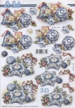 3D Bogen gestanzt Weihnacht blau Vogelhaus - Format A4, Weihnachten - Baumschmuck,  Weihnachten - Glocken,  Le Suh,  Kerzen,  Glocken,  Sterne,  Baumkugeln