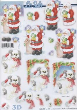 3D Bogen, Tiere - Hunde,  Le Suh,  Weihnachten - Weihnachtsmann,  Weihnachtsmann,  Hunde