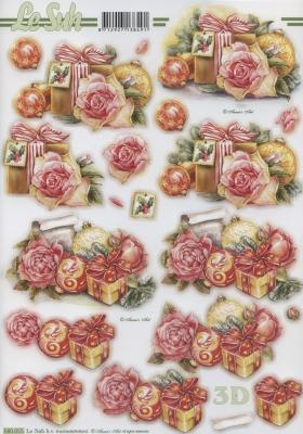 3D Bogen gestanzt Format A4,  Blumen - Rosen,  Geschenke,  Rosen