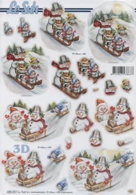 3D Bogen / Art,  Winter - Schneemänner,  Schlitten,  Schneemann