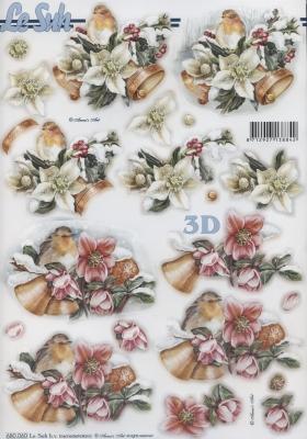 3D Bogen nach Motiven,  Blumen - Christrosen,  Tiere - Vögel,  Weihnachten,  Vögel,  Christrosen