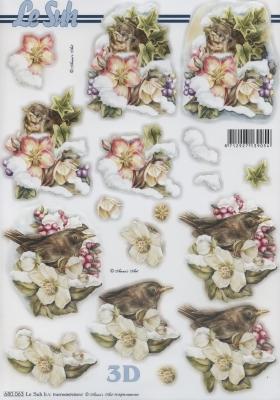 3D Bogen / Tiere,  Tiere - Vögel,  Blumen - Christrosen,  Vögel,  Christrosen