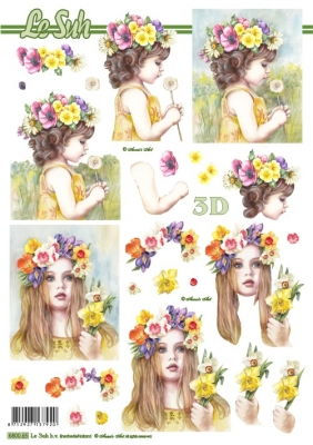 3D Bogen gestanzt Format A4,  Menschen - Kinder,  Le Suh,  Sommer,  Mädchen