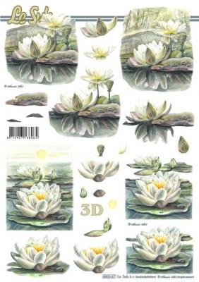 3D Bogen gestanzt Seerosen Format A4,  Blumen - Seerosen,  Le Suh,  Sommer,  Seerose