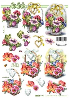 3D Bogen gestanzt Blumenkorb Format A4,  Blumen -  Sonstige,  Le Suh,  Sommer,  Blumen