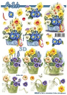 3D Bogen / Le Suh 650-....., Blumen - Primeln,  Blumen - Osterglocken,  Le Suh,  Narzissen,  Primeln
