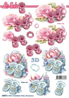 3D Bogen gestanzt Format A4 Babyschuh,  Ereignisse - Geburt,  Le Suh,  Geburt,  Baby,  Mädchen,  Jungen