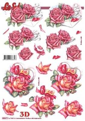 3D Bogen gestanzt Format A4,  Blumen - Rosen,  Le Suh,  Sommer,  Rosen