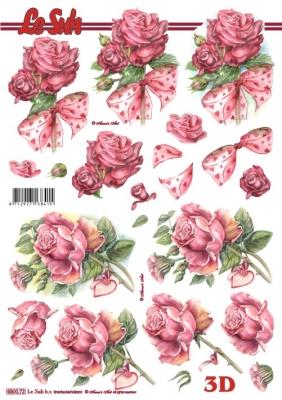 3D Bogen gestanzt Format A4 - Rosen mit Schleife,  Blumen - Rosen,  Le Suh,  Sommer,  Rosen