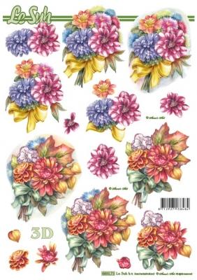 3D Bogen nach Motiven,  Blumen - Dahlien,  Le Suh,  Sommer,  Dahlien,  Blumenstrauß