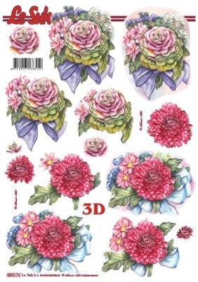 3D Bogen gestanzt Format A4 - Rosen und Dahlien, Blumen - Rosen,  Blumen - Dahlien,  Le Suh,  Sommer,  Dahlien,  Rosen