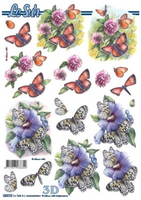 3D Bogen gestanzt Format A4  Schmetterling,  Blumen -  Sonstige,  Tiere - Schmetterlinge,  Sommer,  Schmetterlinge,  Blumen