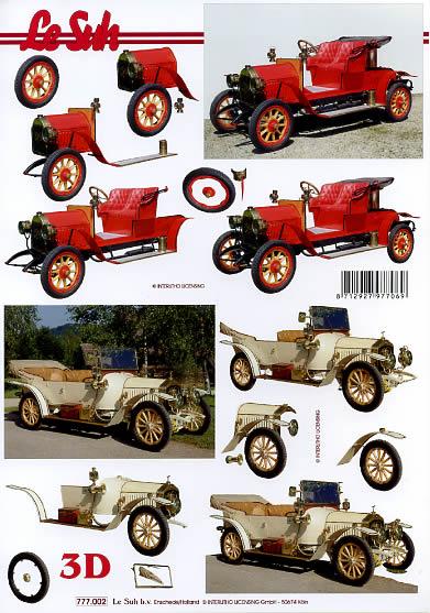 3D Bogen alte PKW´s - Format A4,  Fahrzeuge - Autos,  Le Suh,  3D Bogen,  Oldtimer