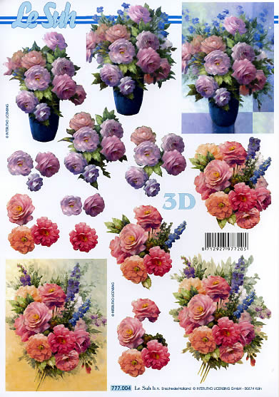3D Bogen Format A4,  Blumen - Rosen,  Le Suh,  3D Bogen,  Rosen