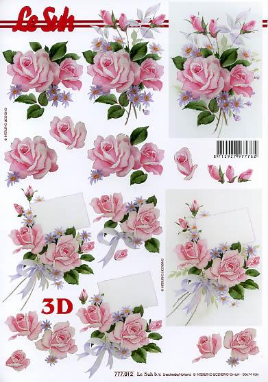 3D Bogen Rosen Format A4,  Blumen - Rosen,  Le Suh,  3D Bogen,  Rosen