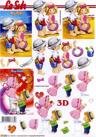 3D Bogen  - Format A4, Regionen - Strand / Meer,  Menschen - Kinder,  Le Suh,  3D Bogen,  Kinder,  Strand