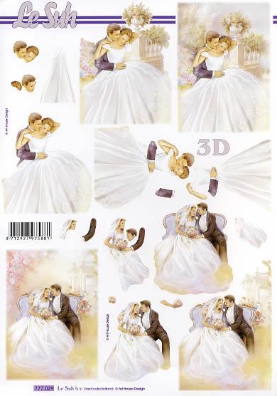 3D Bogen  - Format A4,  Blumen -  Sonstige,  Le Suh,  3D Bogen,  Brautpaar im Garten,  Brautstrauß,  Schleier