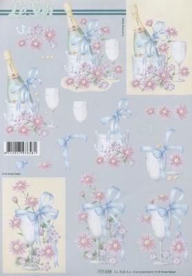 3D Bogen Sekt - Format A4,  Ereignisse - Feier,  3D Bogen,  Blumen