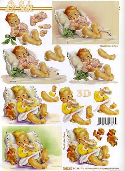 3D Bogen Baby - Format A4,  Menschen - Babys,  Le Suh,  3D Bogen,  Baby beim Flasche trinken,  Teddybär,  Taufe