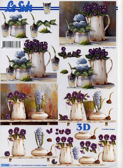 3D Bogen  - Format A4,  Blumen - Stiefmütterchen,  Le Suh,  3D Bogen,  Stiefmütterchen,  Hortensien,  Krug