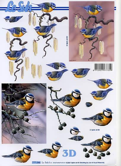 3D Bogen  - Format A4,  Tiere - Vögel,  Le Suh,  3D Bogen,  Vögel auf Zweigen