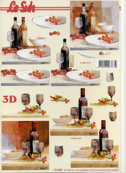 3D Bogen Format A4,  Getränke - Wein / Sekt,  Le Suh,  3D Bogen,  Wein