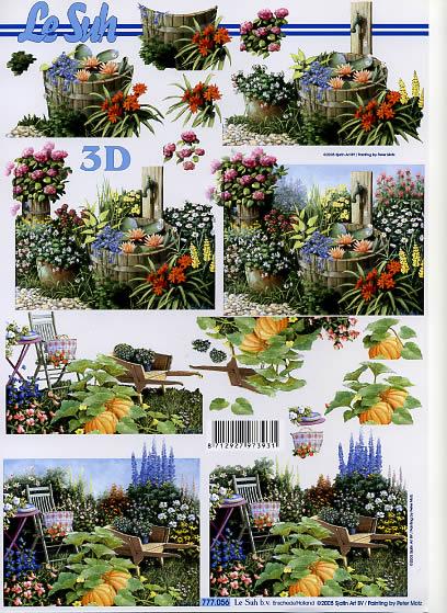 3D Bogen Im Garten - Format A4, Früchte - Kürbisse,  Blumen -  Sonstige,  Le Suh,  3D Bogen,  Garten,  Kürbisse