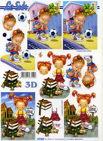 3D Bogen Schulanfang - Format A4, Ereignisse - Schule,  Le Suh,  Menschen - Kinder,  3D Bogen,  Einschulung,  Mädchen ,  Jungen
