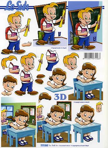 3D Bogen  - Format A4,  Ereignisse - Schule,  Le Suh,  3D Bogen,  Einschulung,  Jungen,  Mädchen
