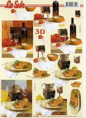 3D Bogen Glaswein+Weintrauben Format A4,  Getränke - Wein / Sekt,  Le Suh,  3D Bogen,  Weingläser,  Weintrauben,  Wein
