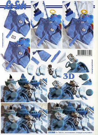 3D Bogen Babysachen Junge - Format A4,  Menschen - Babys,  Le Suh,  3D Bogen,  Jungssachen
